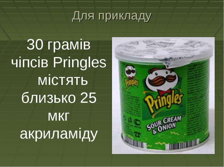 Для прикладу 30 грамів чіпсів Pringles містять близько 25 мкг акриламіду