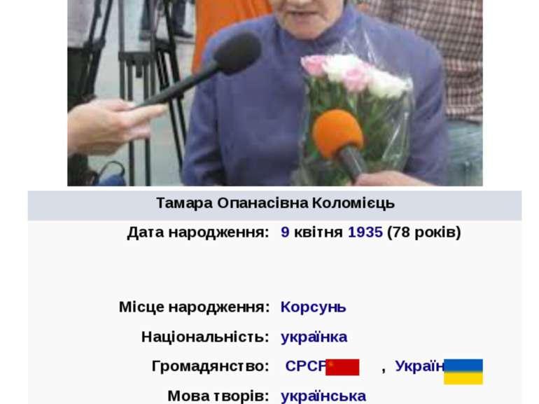 ТамараОпанасівнаКоломієць Датанародження: 9квітня1935(78років) Місценаро...