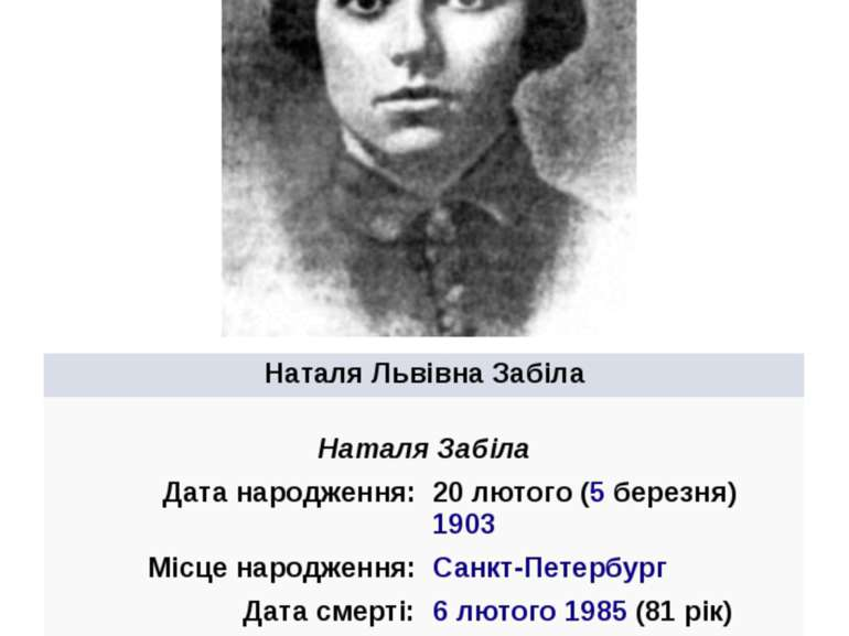 НаталяЛьвівнаЗабіла НаталяЗабіла Датанародження: 20лютого(5березня)1903 М...