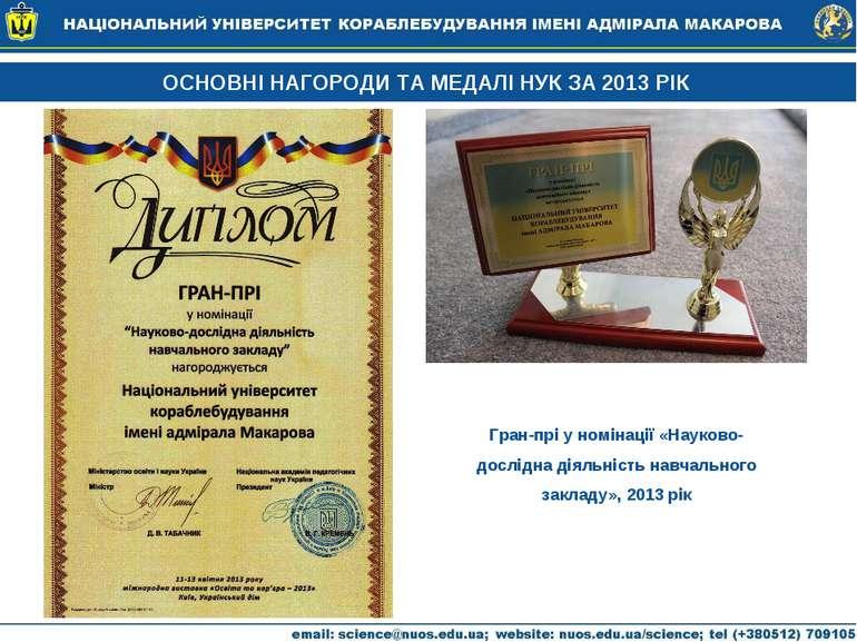 Гран-прі у номінації «Науково-дослідна діяльність навчального закладу», 2013 ...
