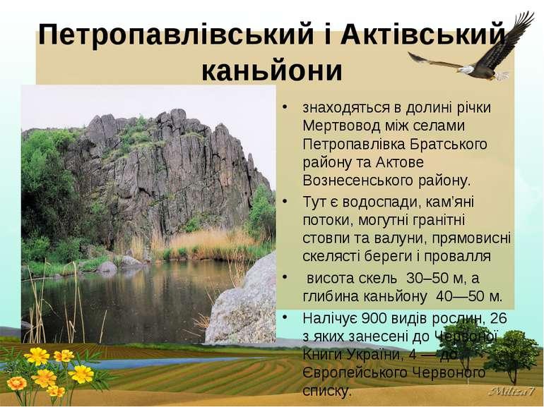 Петропавлівський і Актівський каньйони знаходяться в долині річки Мертвовод м...