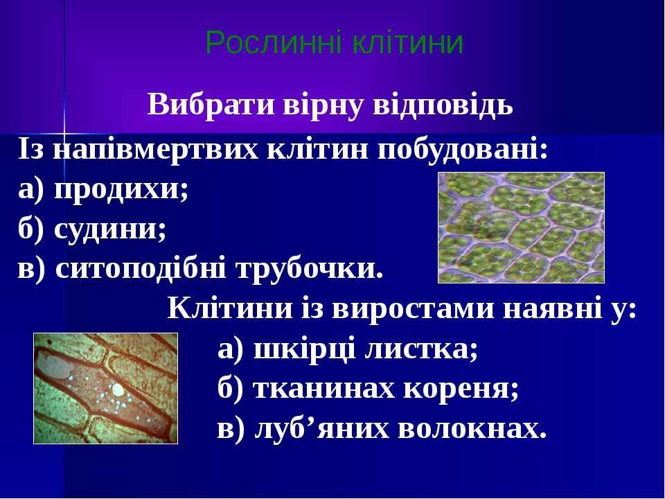 Рослинні клітини Вибрати вірну відповідь Із напівмертвих клітин побудовані: а...