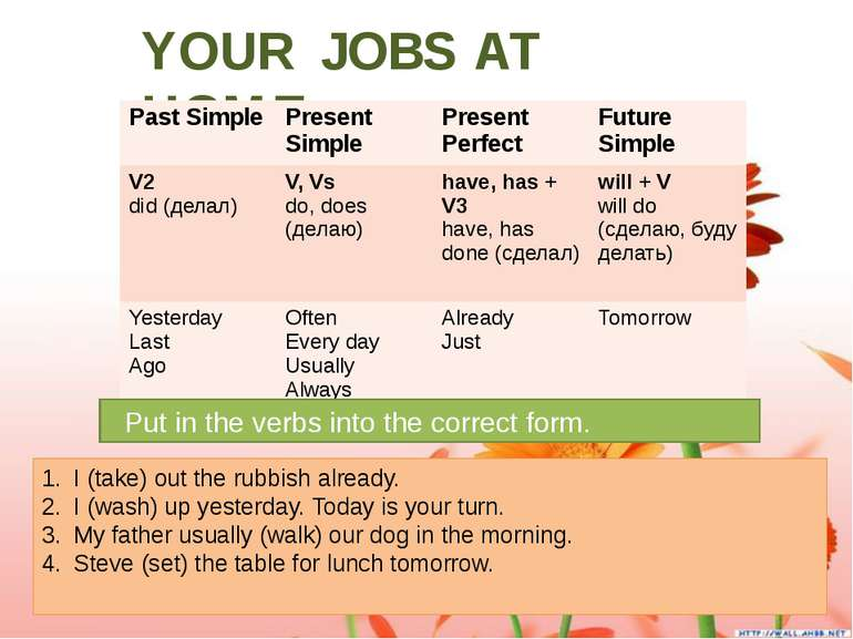 YOUR JOBS AT HOME. Put in the verbs into the correct form. I (take) out the r...