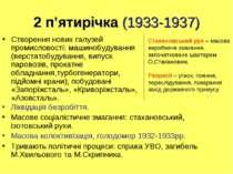 2 п'ятирічка (1933-1937) Створення нових галузей промисловості: машинобудуван...