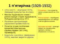 1 п'ятирічка (1928-1932) «Хто кого?» - згортання НЕПу, ліквідація куркульства...
