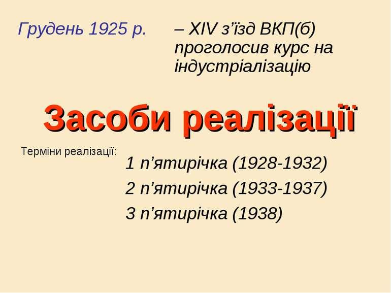 Засоби реалізації Грудень 1925 р. – XIV з'їзд ВКП(б) проголосив курс на індус...