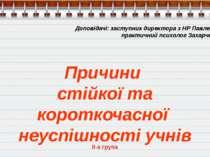 Доповідачі: заступник директора з НР Павленок А.Д., практичний психолог Захар...