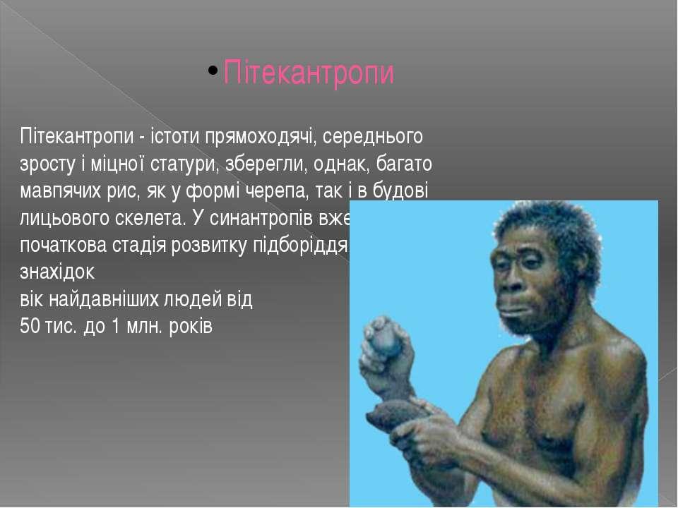 Пітекантропи - істоти прямоходячі, середнього зросту і міцної статури, зберег...