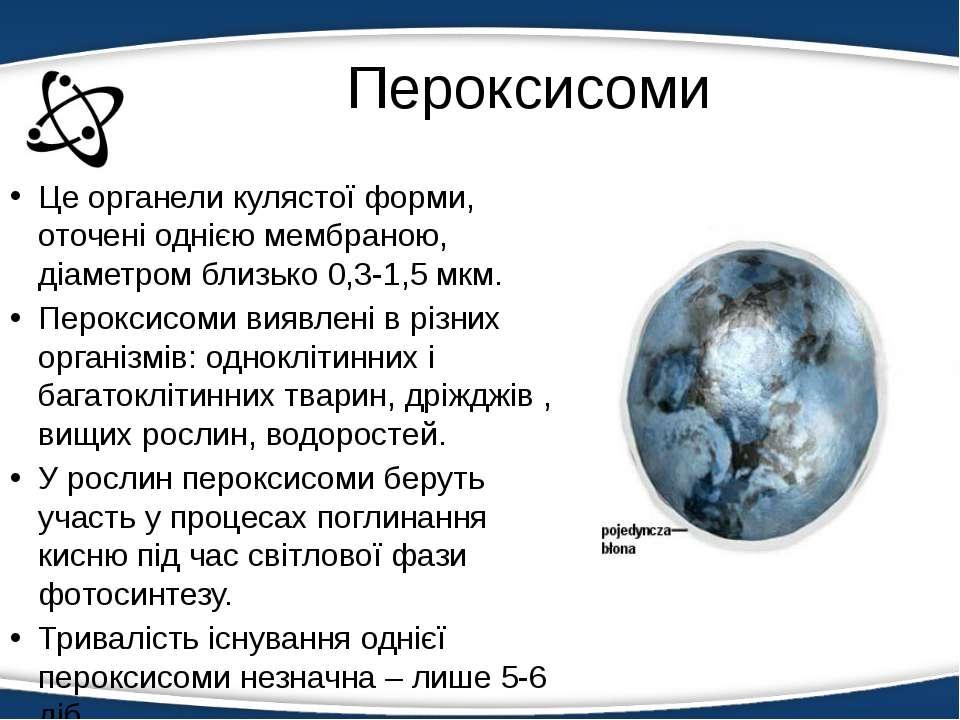 Пероксисоми Це органели кулястої форми, оточені однією мембраною, діаметром б...