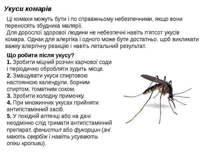 Укуси комарів Ці комахи можуть бути і по справжньому небезпечними, якщо вони...