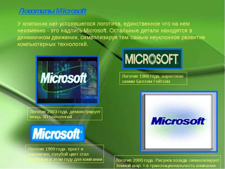 Логотипы Microsoft У компании нет устоявшегося логотипа, единственное что на ...