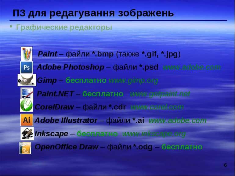 * ПЗ для редагування зображень Графические редакторы Paint – файли *.bmp (так...