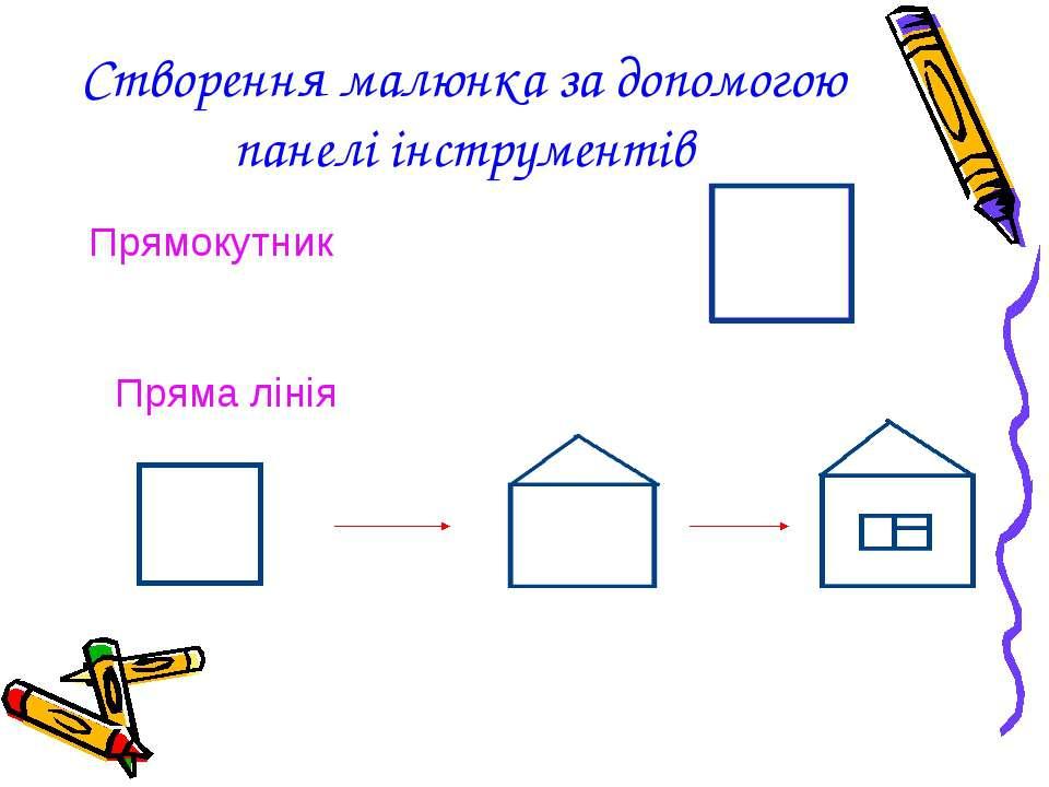 Створення малюнка за допомогою панелі інструментів Прямокутник Пряма лінія