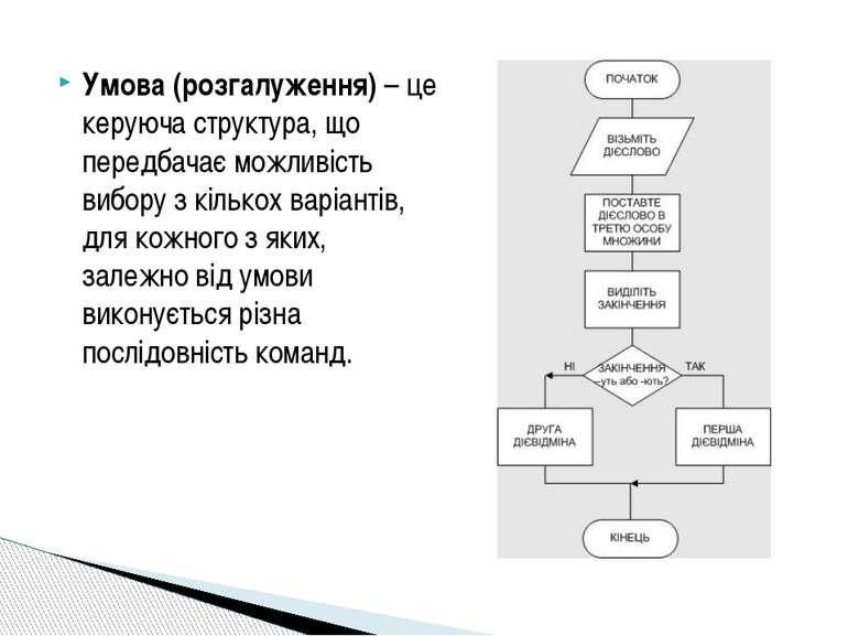 Умова (розгалуження)– це керуюча структура, що передбачає можливість вибору ...