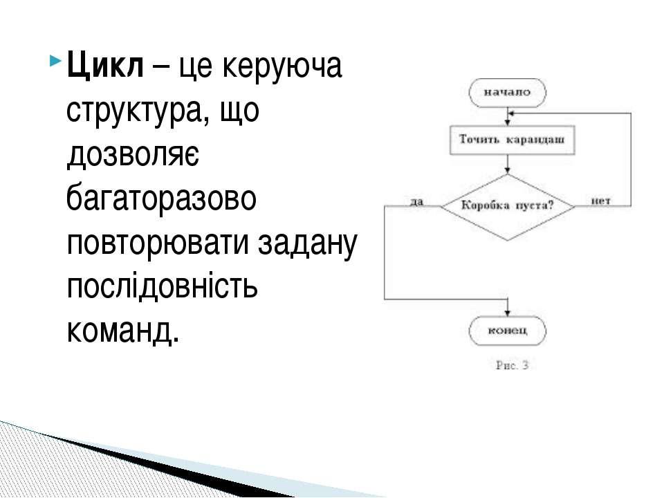 Цикл– це керуюча структура, що дозволяє багаторазово повторювати задану посл...