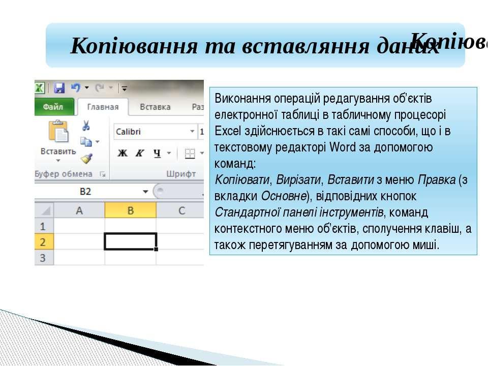 Виконання операцій редагування об'єктів електронної таблиці в табличному проц...