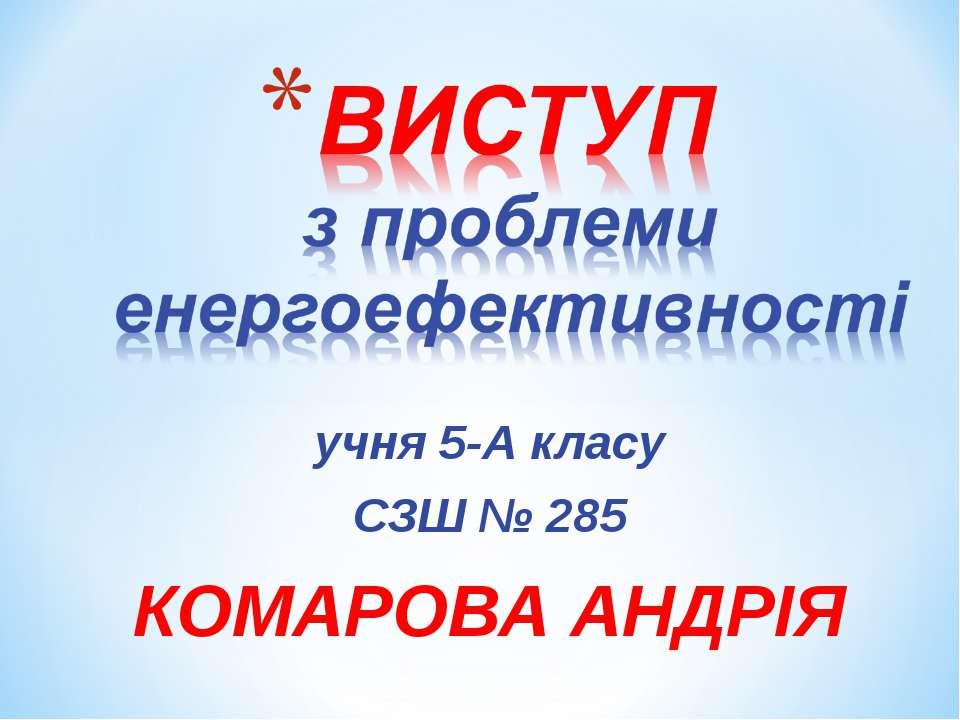 учня 5-А класу СЗШ № 285 КОМАРОВА АНДРІЯ