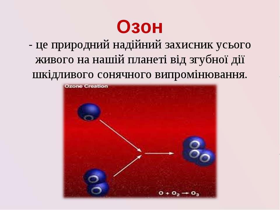 Озон - це природний надійний захисник усього живого на нашій планеті від згуб...