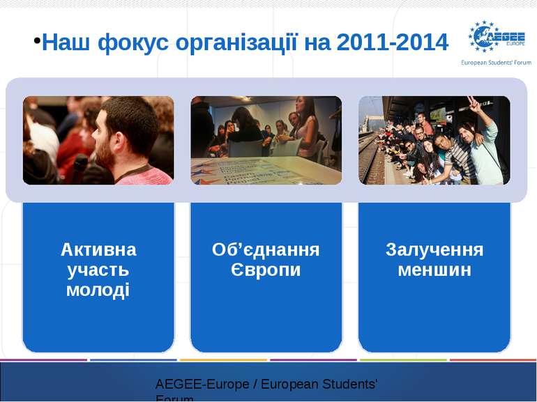 Наш фокус організації на 2011-2014 AEGEE-Europe / European Students' Forum Ак...