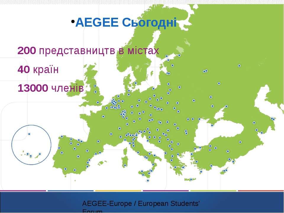 AEGEE Сьогодні 200 представництв в містах 40 країн 13000 членів AEGEE-Europe ...