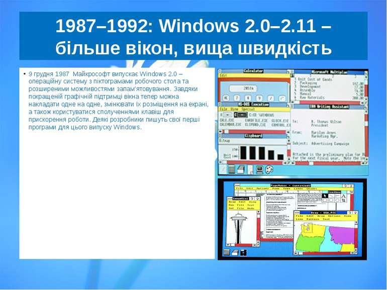 1987–1992:Windows2.0–2.11– більше вікон, вища швидкість 9 грудня 1987 Майк...