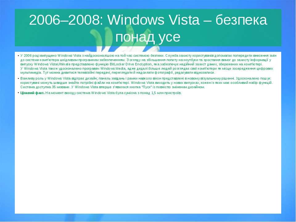 2006–2008:WindowsVista– безпека понад усе У 2006 році випущеноWindowsVis...