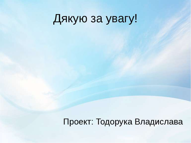 Дякую за увагу! Проект: Тодорука Владислава