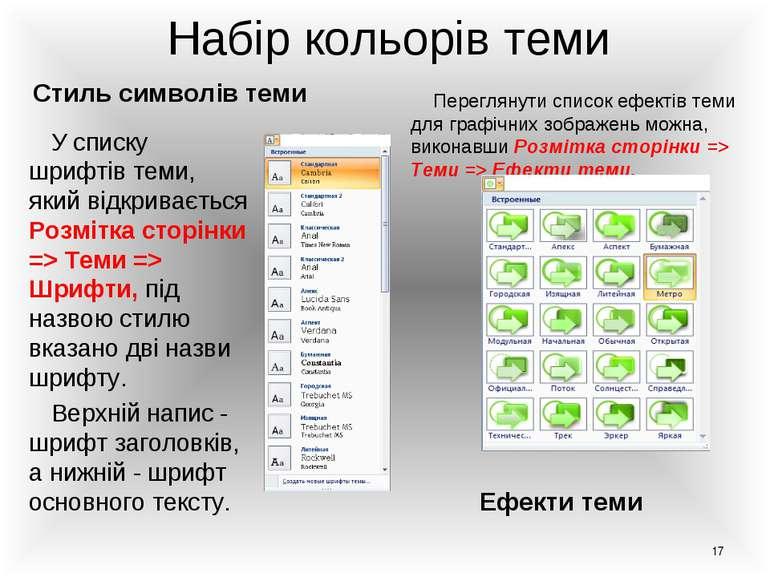 Набір кольорів теми Стиль символів теми Ефекти теми У списку шрифтів теми, як...