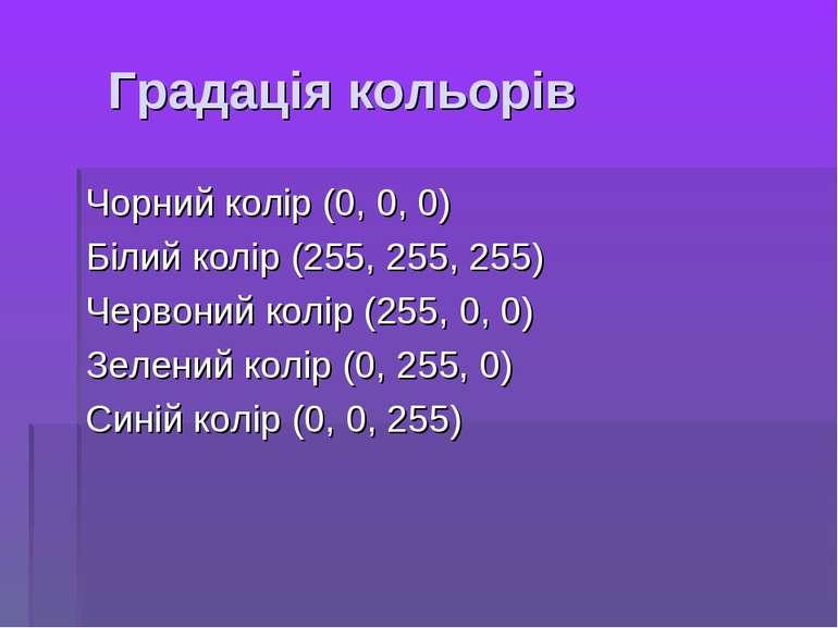 Градація кольорів Чорний колір (0, 0, 0) Білий колір (255, 255, 255) Червоний...
