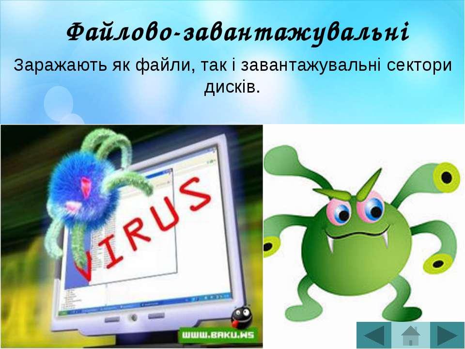 Віруси-реплікатори Так називані хробаки, що поширюються комп'ютерними мережами.