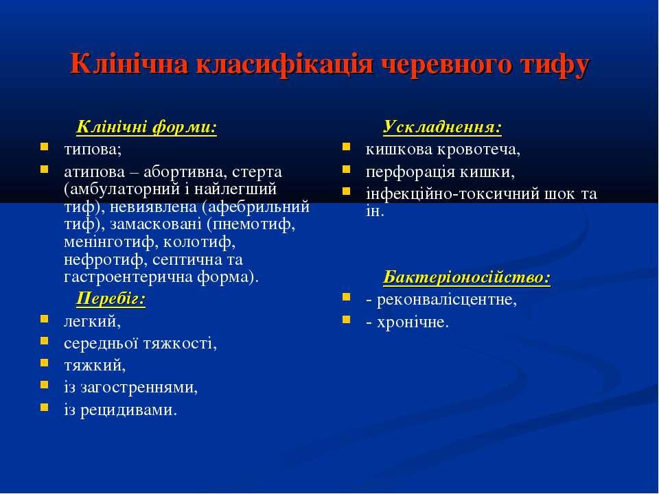 Клінічна класифікація черевного тифу Клінічні форми: типова; атипова – аборти...