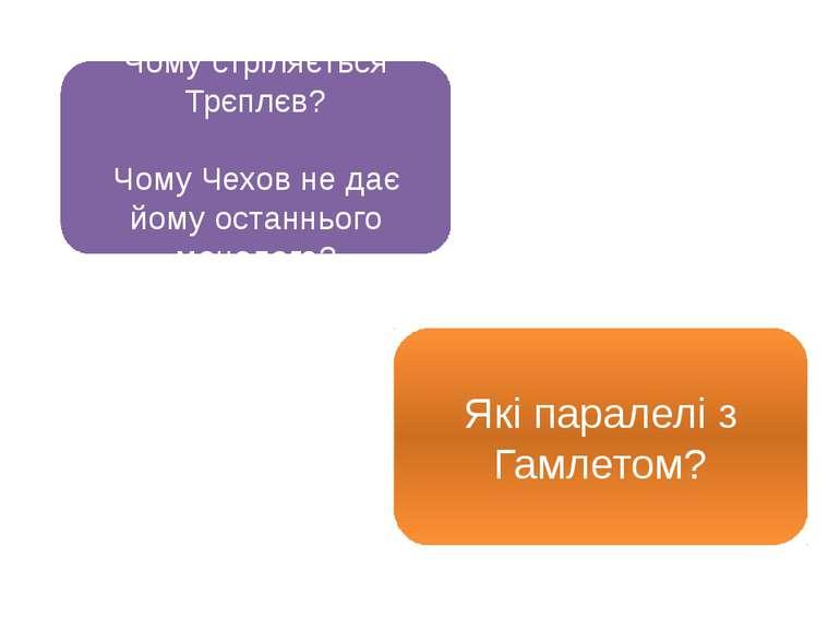 Чому стріляється Трєплєв? Чому Чехов не дає йому останнього монолога? Які пар...