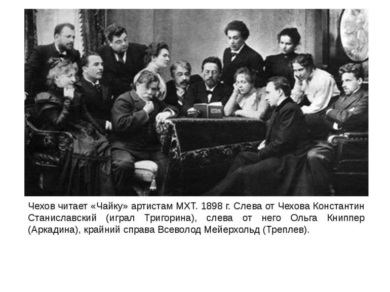 Чехов читает «Чайку» артистам MXT. 1898 г. Слева от Чехова Константин Станисл...