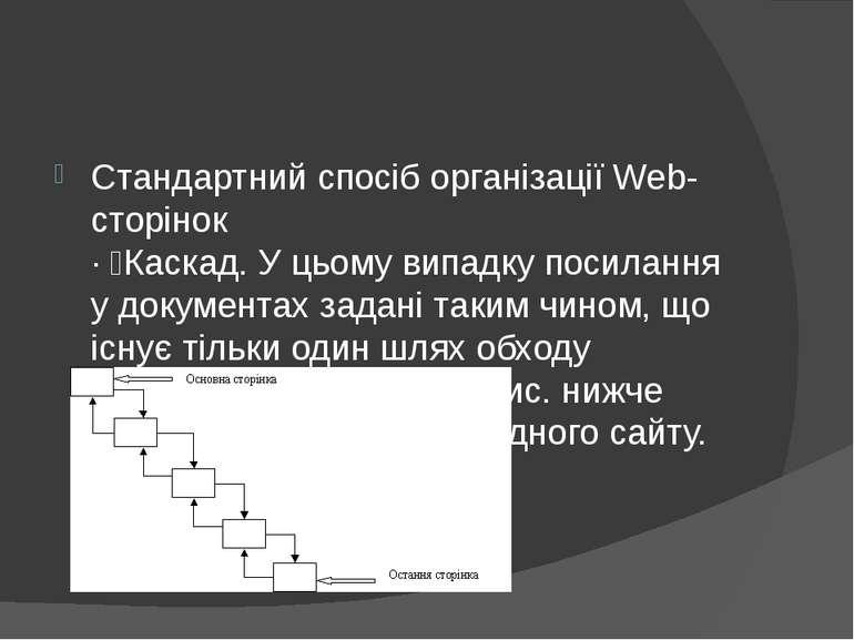 Стандартний спосіб організації Web-сторінок · Каскад. У цьому випадку посилан...