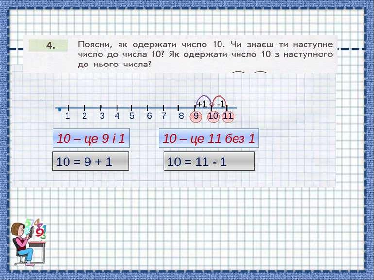 10 – це 9 і 1 10 = 9 + 1 10 – це 11 без 1 10 = 11 - 1 1 2 3 4 5 6 7 8 9 . 11 ...