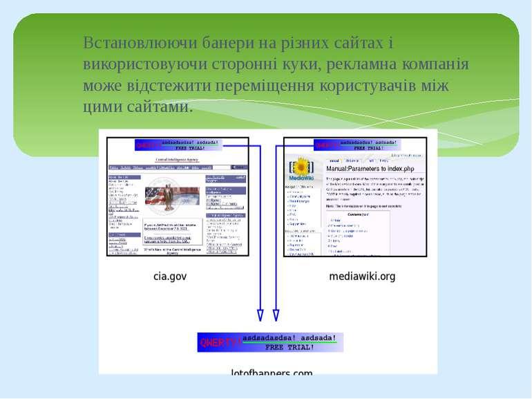 Встановлюючи банери на різних сайтах і використовуючи сторонні куки, рекламна...