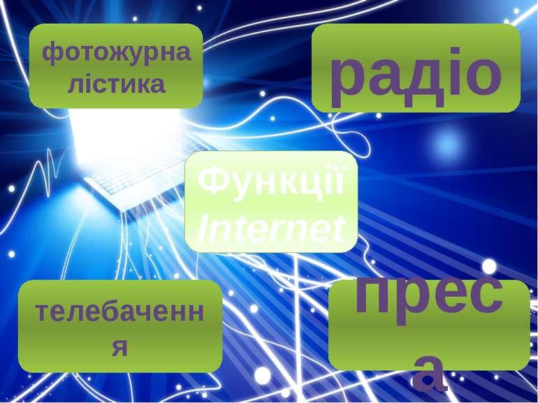 Функції Internet радіо фотожурналістика телебачення преса