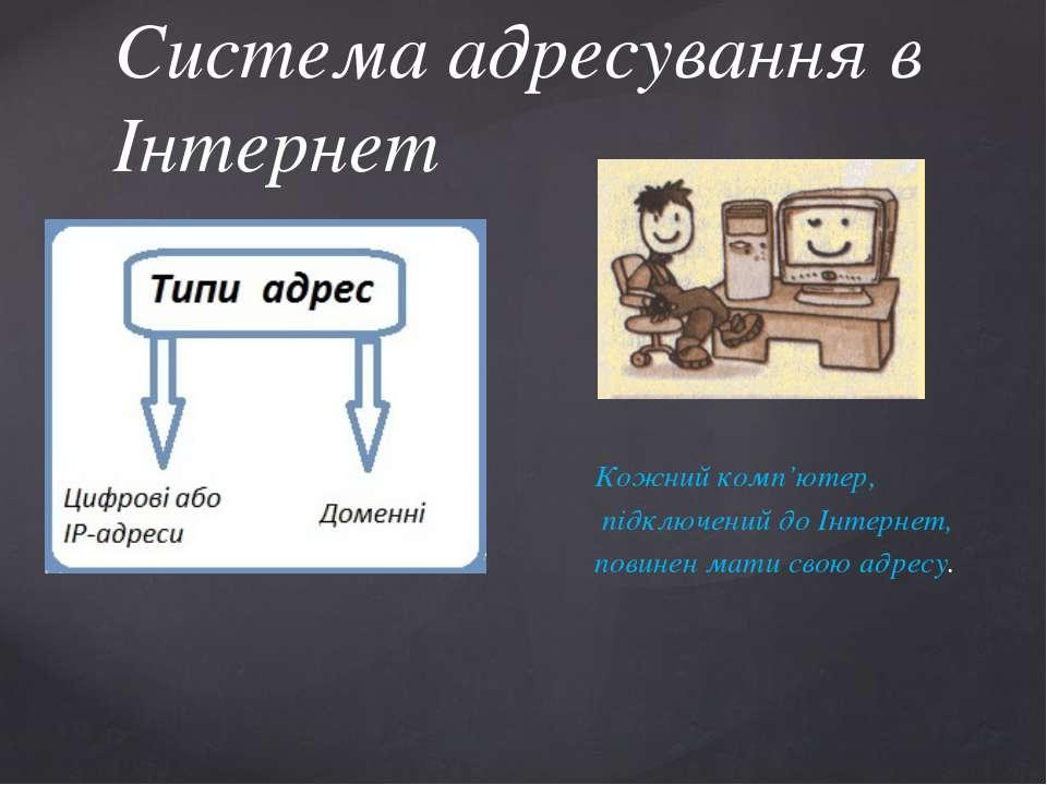 Кожний комп'ютер, підключений до Інтернет, повинен мати свою адресу. Система ...