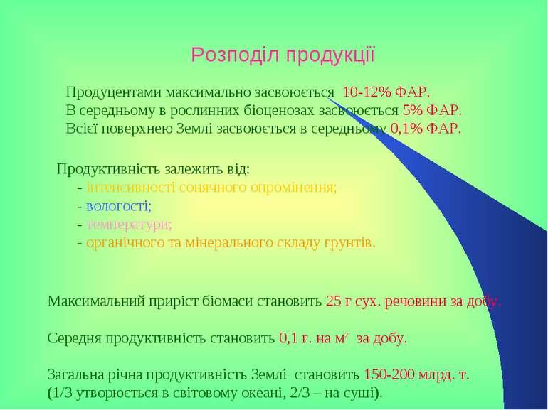 Розподіл продукції Продуцентами максимально засвоюється 10-12% ФАР. В середнь...