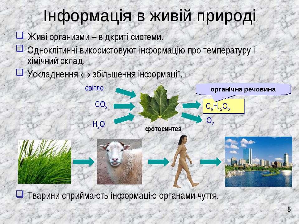* Інформація в живій природі Живі организми – відкриті системи. Одноклітинні ...