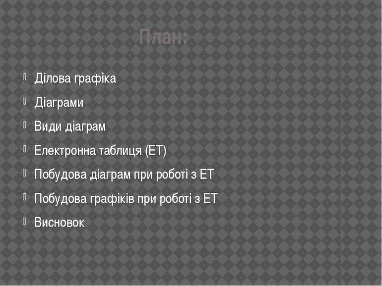 План: Дiлова графiка Дiаграми Види дiаграм Електронна таблиця (ЕТ) Побудова д...