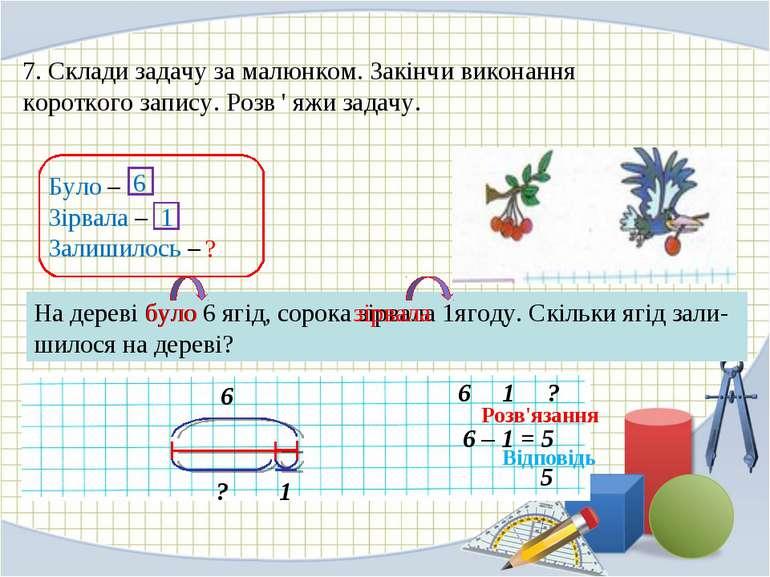 7. Склади задачу за малюнком. Закінчи виконання короткого запису. Розв ' яжи ...