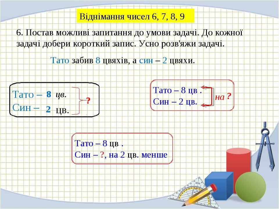 6. Постав можливі запитання до умови задачі. До кожної задачі добери короткий...