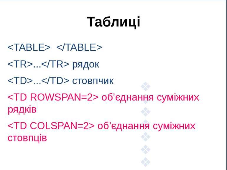 Таблиці ... рядок ... стовпчик об'єднання суміжних рядків об'єднання суміжних...