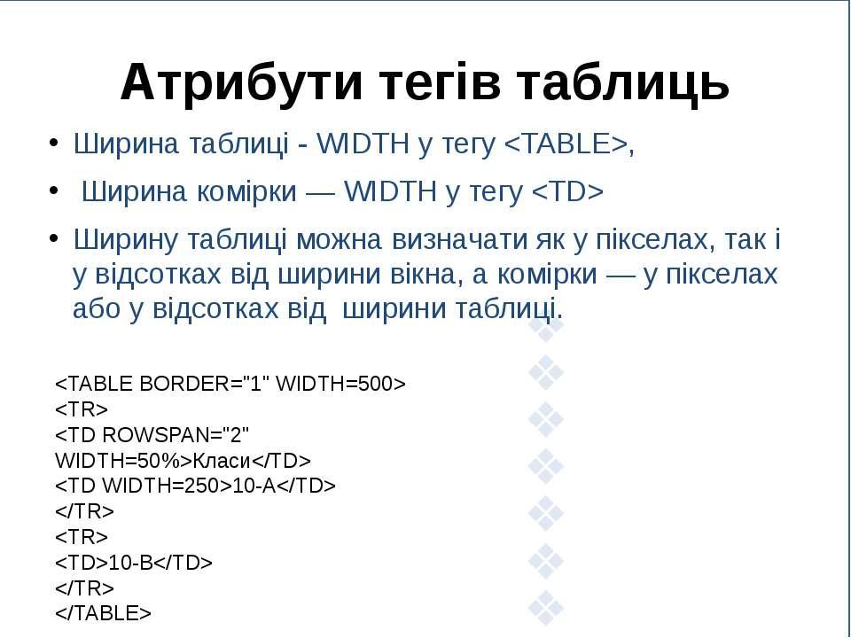 Атрибути тегів таблиць Ширина таблиці - WIDTH у тегу , Ширина комірки — WIDTH...