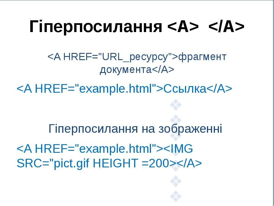 Гіперпосилання фрагмент документа Ссылка Гіперпосилання на зображенні