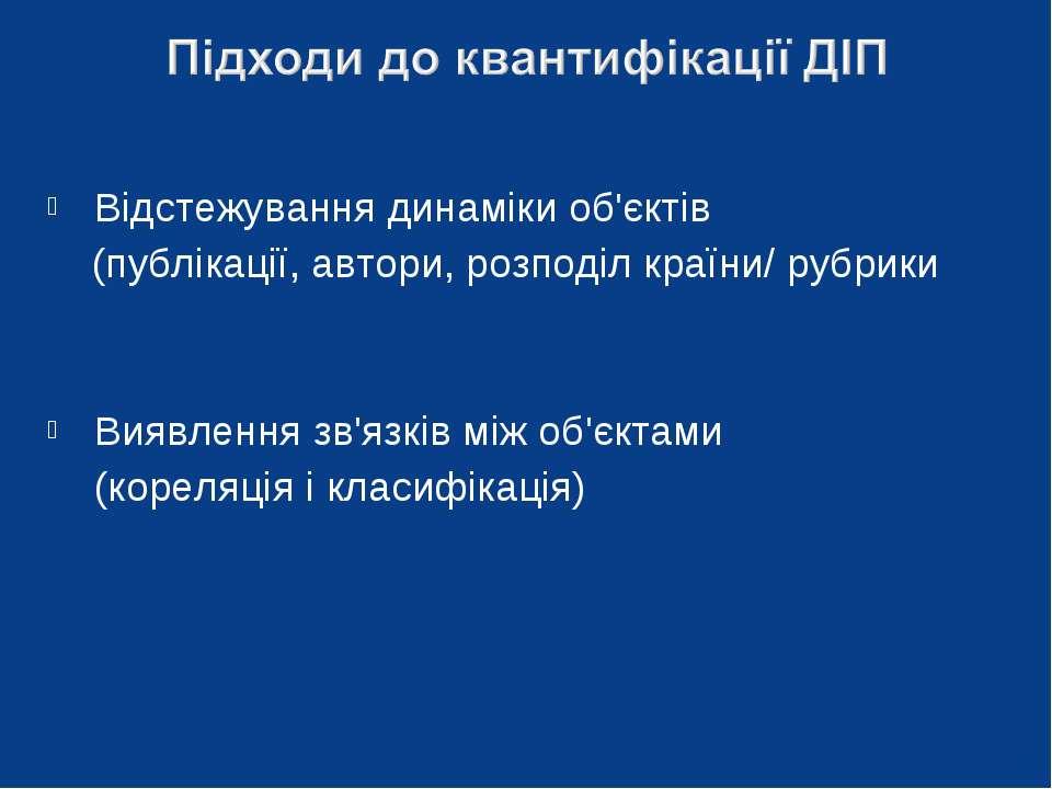 Відстежування динаміки об'єктів (публікації, автори, розподіл країни/ рубрики...