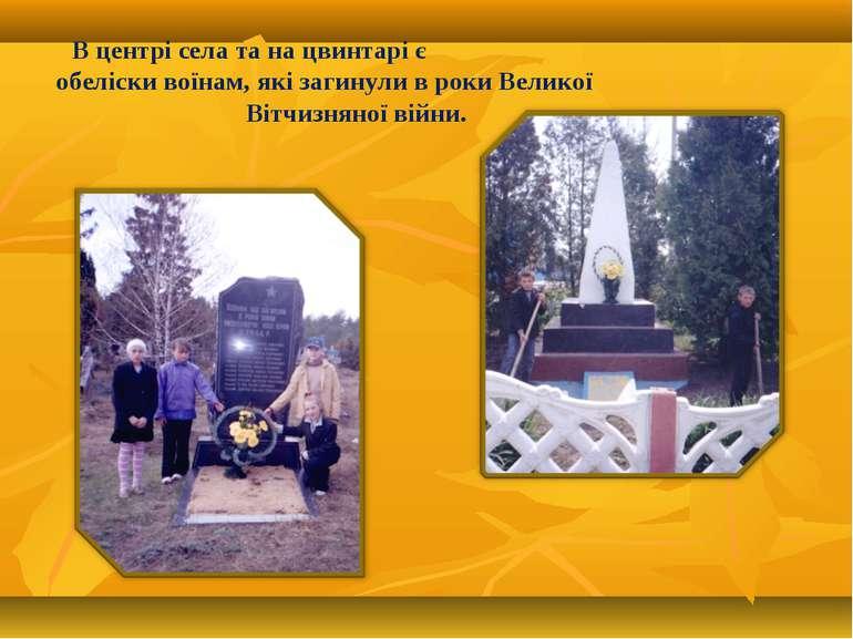 В центрі села та на цвинтарі є обеліски воїнам, які загинули в роки Великої В...