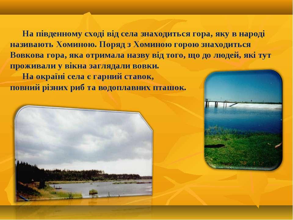 На південному сході від села знаходиться гора, яку в народі називають Хоминою...