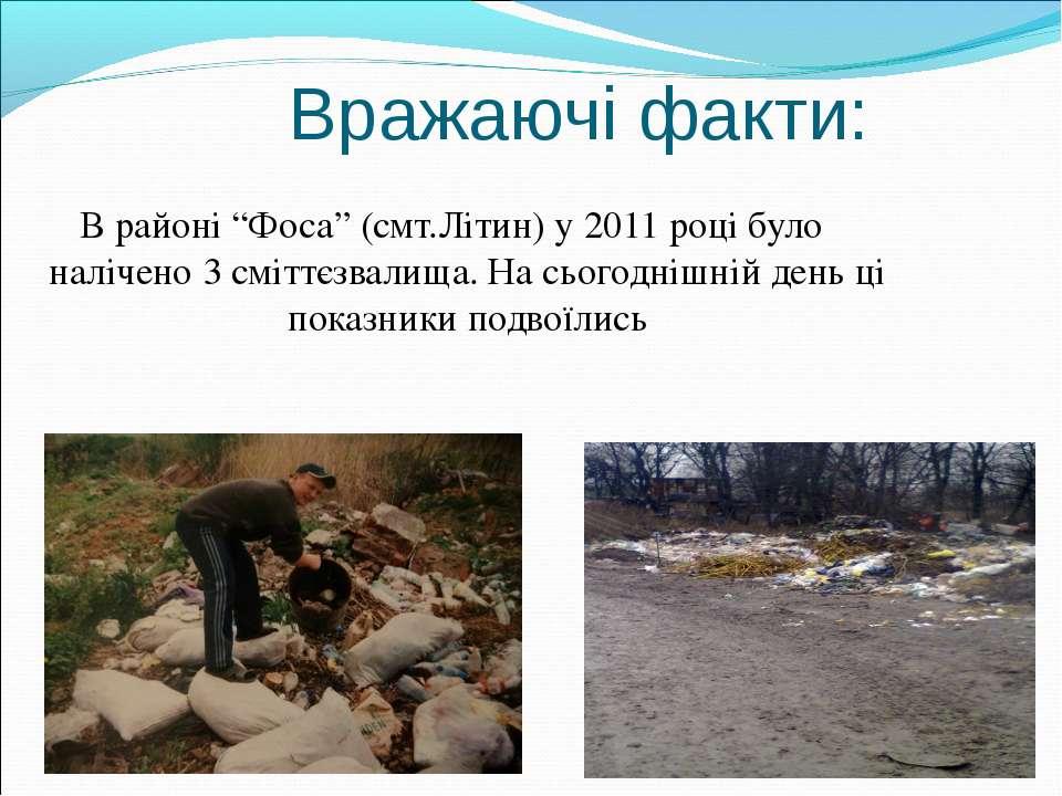 """Вражаючі факти: В районі """"Фоса"""" (смт.Літин) у 2011 році було налічено 3 смітт..."""
